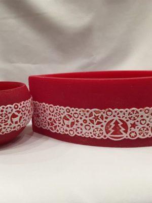 Karácsonyi mécsestartó párban piros mandzsettával